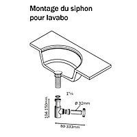 Siphon design court pour lavabo laiton nickelé Diall