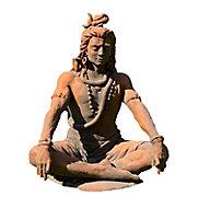 Statue Shiva assis effet rouille H. 90 cm