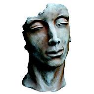 Statue Visage Homme effet rouille H. 115 cm