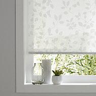 Store enrouleur Colours Azzuro polyester blanc fleurs 45 x 195 cm