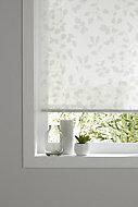 Store enrouleur Colours Azzuro polyester blanc fleurs 55 x 195 cm