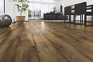 Stratifié Gabino décor bois foncé 8 mm + sous-couche intégrée 2 mm - L.138,3 x l.19,3 cm