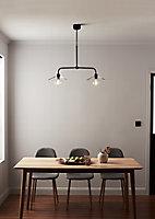 Suspension Zanbar 2 ampoules E27 IP20 noir