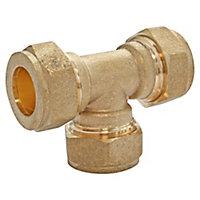 Té égal bicône à bague laiton pour tube cuivre Ø12
