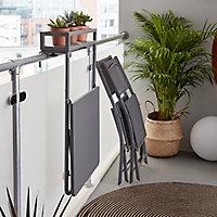 Table de balcon en métal GoodHome Saba gris 60 x 53 x H 97 cm