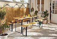 Table de jardin Bistro + 2 bancs 60 x 180 cm