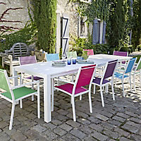 Table de jardin en métal Batang 205/335 x 101 cm blanc