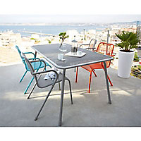 Table de jardin en métal Chiva gris 160 x 90 cm