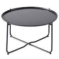 Table de jardin en métal GoodHome Nova ebony ø65 cm