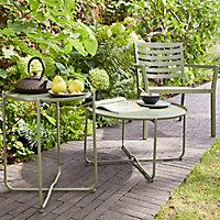 Table de jardin en métal GoodHome Nova kaki ø46 cm