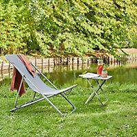Table de jardin en métal GoodHome Saba kaki 40 x 40 cm