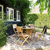 Table de jardin en teck GoodHome ø120 cm