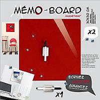 Tableau mémo board rouge 30 x 30 cm