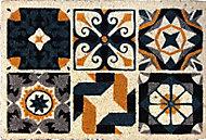 Tapis coco blanchi imprimé carreau andalousie 40 x 60 cm