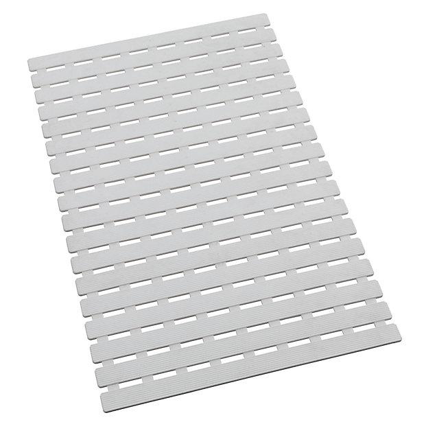 tapis de baignoire antiderapant arinos blanc 63 x 40 cm