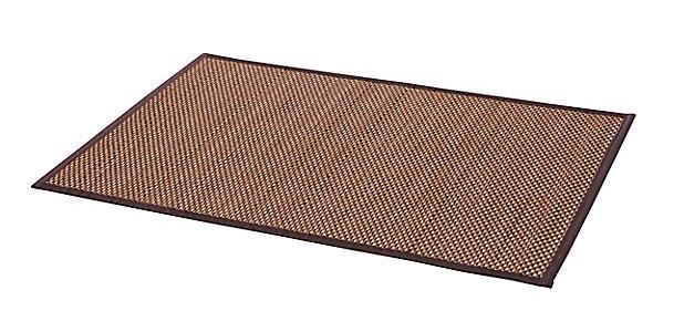 tapis de bain antiderapant bambou naturel noir 60 x 90 cm okaido
