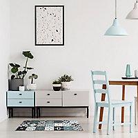 Tapis vinyle carreaux bleu et noir 49.5 x 166 cm