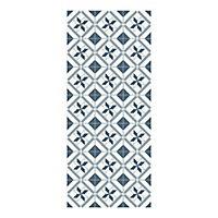 Tapis vinyle carreaux ciment bleu et blanc 49,5 x 116 cm
