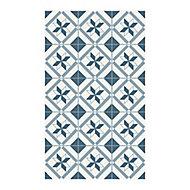 Tapis vinyle carreaux ciment bleu et blanc 49,5 x 83 cm