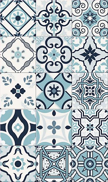 Tapis Vinyle Carreaux De Ciment Bleu 49 5 X 83 Cm Castorama