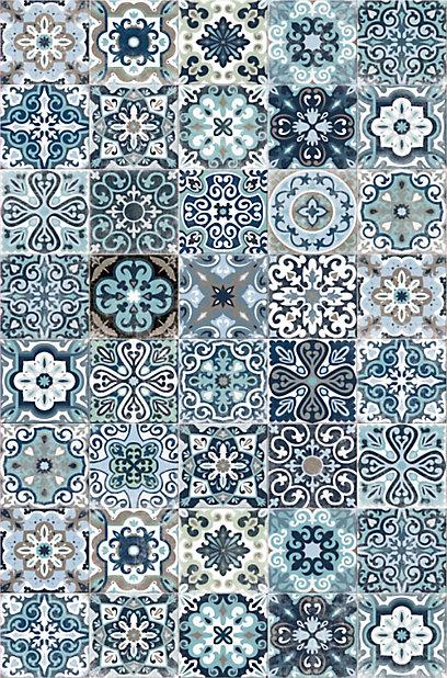 Tapis Vinyle Carreaux De Ciment Bleu 98 X 148 5 Cm Castorama