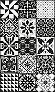 Tapis vinyle carreaux de ciment VIN 16988 noir et blanc 49,5 x 83 cm