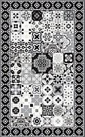 Tapis vinyle carreaux de ciment VIN 17369 noir et blanc 49,5 x 83 cm