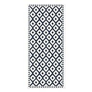 Tapis vinyle carreaux ethnique ciment bleu et blanc 49,5 x 116 cm