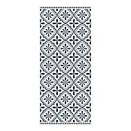 Tapis vinyle carreaux motif ciment noir et blanc 49,5 x 116 cm