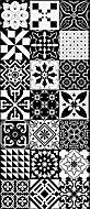 Tapis vinyle grands carreaux de ciment noir et blanc 49,5 x 116 cm