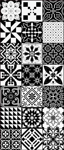 tapis vinyle grands carreaux de ciment noir et blanc 49 5 x 116 cm