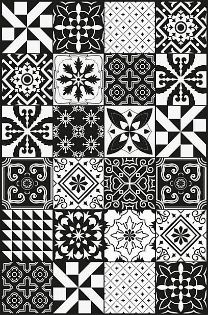 tapis vinyle grands carreaux de ciment noir et blanc 98 x 148 5 cm
