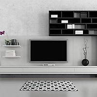 Tapis vinyle noir et blanc 49.5 x 166 cm