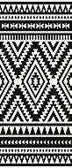 Tapis vinyle tribal moderne noir & blanc 116 x 49,5cm