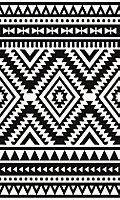 Tapis vinyle tribal moderne noir & blanc 83 x 49,5cm