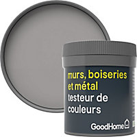 Testeur peinture résistante murs, boiseries et métal GoodHome gris Long Island mat 50ml