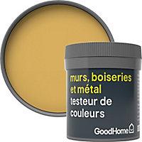 Testeur peinture résistante murs, boiseries et métal GoodHome jaune Chueca mat 50ml