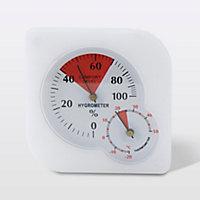 Thermomètre hygromètre analogique intérieur Terdens blanc