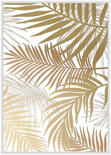 Toile Caisse Americaine Feuilles De Palmier 100x140cm Blanc Et Or Dada Art Castorama