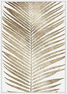 Toile feuille or et blanc 65x92cm