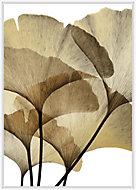 Toile fleurs or et blanc 65x92cm