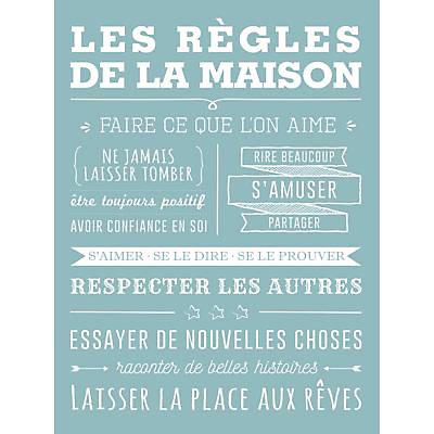 Toile Imprimee Regle De La Maison Bleu 65 X 45 Cm Castorama