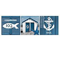 Toile sur châssis motifs marins 35 x 105 cm