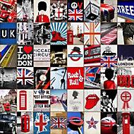 Toile sur châssis Patchword Londres 75 x 75 cm