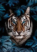 Toile tigre bleu 60 x 90 cm