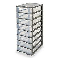 Tour en plastique 8 tiroirs Kontor gris H. 68 x L. 36,5 x P. 26 cm
