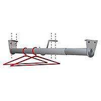 Tringle de penderie télescopique aluminium chromé Ø2,5 cm de 68 à 120 cm avec support