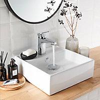 Vasque à poser carrée céramique blanche GoodHome Hendra