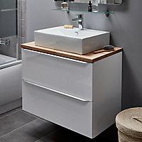 Vasque à poser rectangulaire céramique blanche GoodHome Albena
