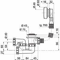 Vidage à câble de longueur 700 mm avec siphon Wirquin